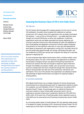 Assessing the Business Value of VDI in the Public Cloud